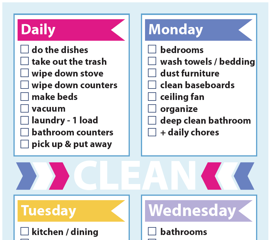 Cleaning Schedule Sweet Paper Trail – Cleaning Schedule
