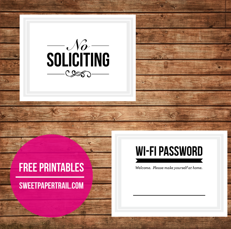 picture about Password Printables called Cost-free Printable - No Soliciting Wifi Pword